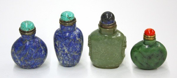 19: Four Chinese Carved Stone Snuff Bottles