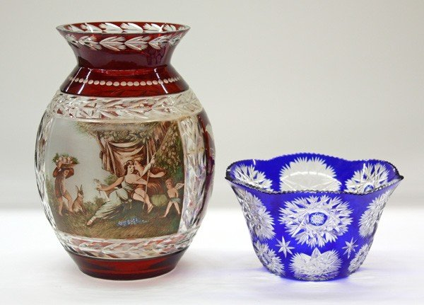 6000: Cranberry and cobalt glass vases