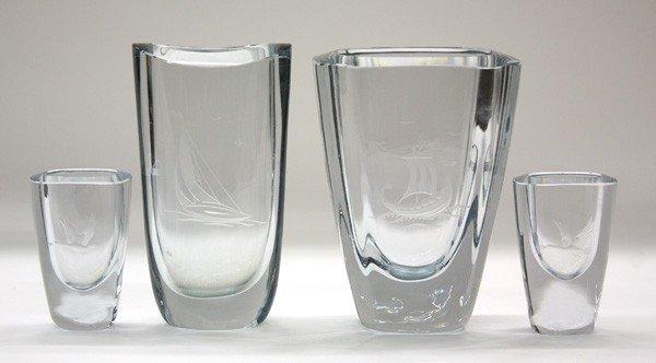 6004: Stromberg cut crystal vases