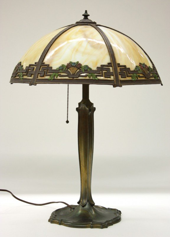 6013: Arts and Crafts slag glass lamp