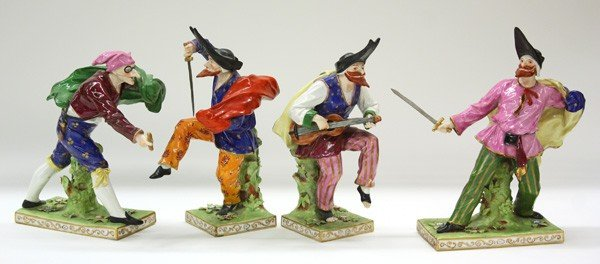 6025: Capodimonte commedia dell arte porcelain figures