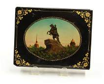 6049: Russian paper mache black lacquer dresser box