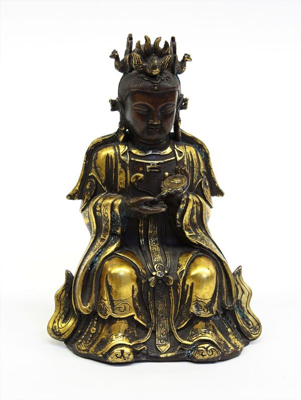 4002: Chinese Bronze Deity Figure w/Gilt Accents