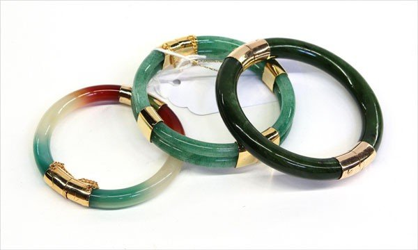 4010: Asian Jade and Gold/Gilt Bracelets