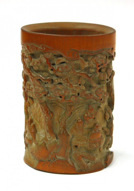 4014: Chinese Carved Bamboo Brush Pot