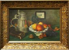 4446: Painting, Still Life with Beer Stein and Fruit