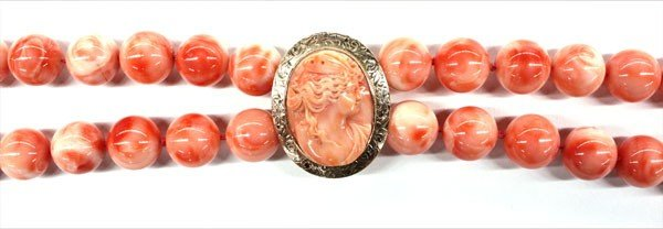 4679: Coral cameo brooch glass bead necklace