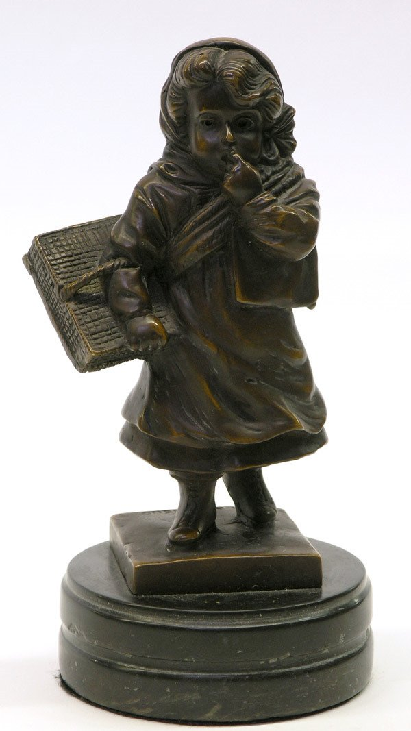 11: H. Levasseur/bronze figural of a little girl