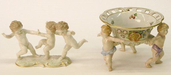 12: German porcelain figurals with cherubs