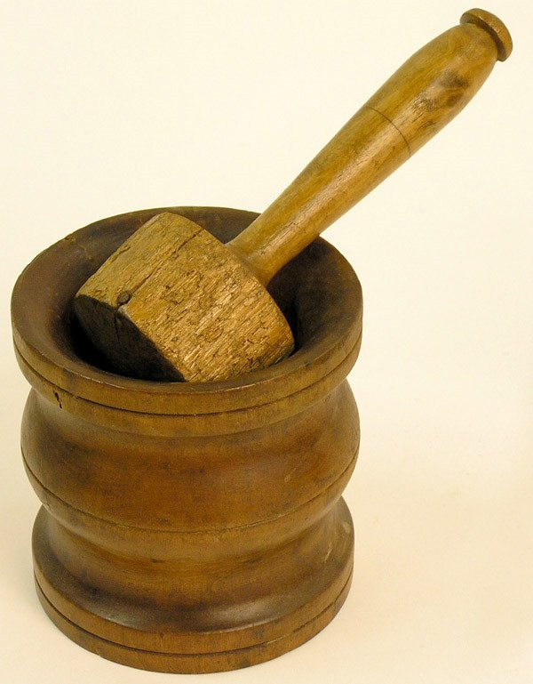16: American turned wood mortar and pestle