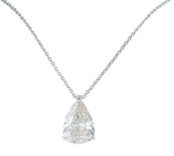 2426: Platinum diamond pear cut pendant