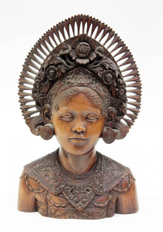 1: Balinese Wood Carving,Bust of a Beauty
