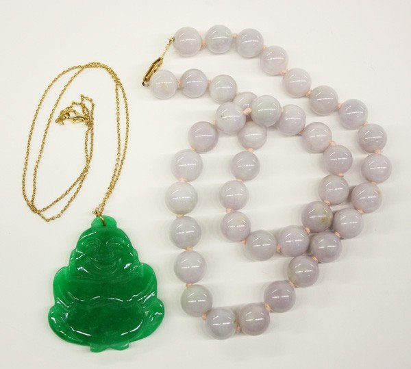 13: Chinese Hardstone Necklace and Jade Toggle