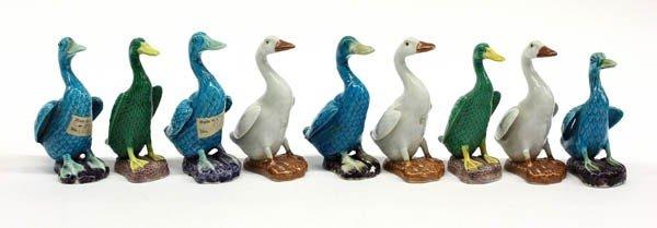 21: Chinese Porcelain Duck Figuirines, Qing/Republic