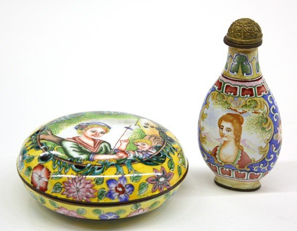 24: Chinese Canton Enamel Snuff Bottle/Container