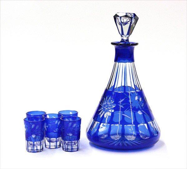 6001: Cut cobalt glass decanter set