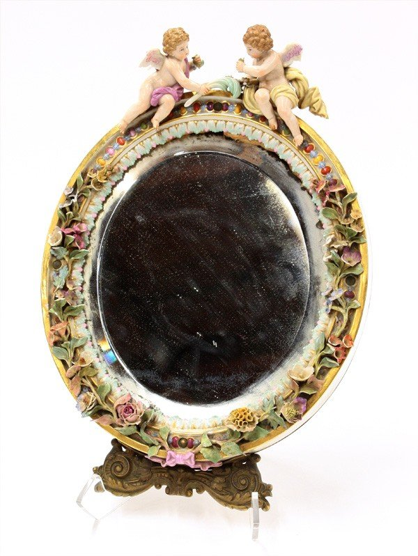6020: Meissen porcelain oval mirror