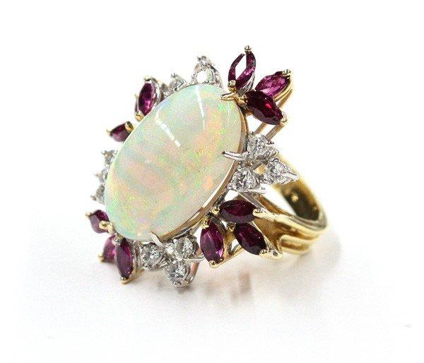 6467: Opal ruby diamond yellow gold ring