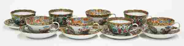 6629 Two Sets Chinese Rose Canton Cups and Saucers
