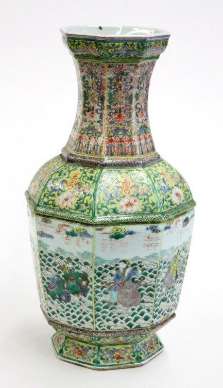 6678: Chinese Famille Verte Porcelain Hexagonal Vase,Qi