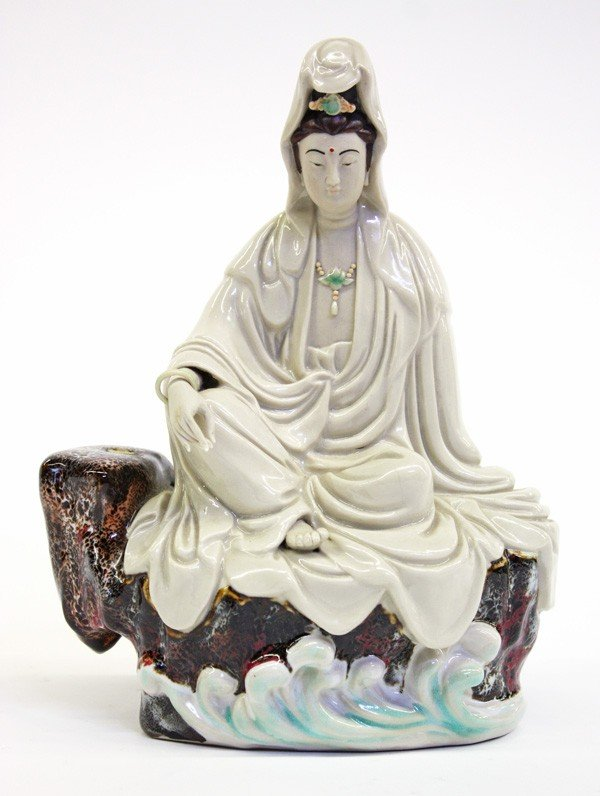 4007: Chinese Enameled Porcelain Guanyin Figure