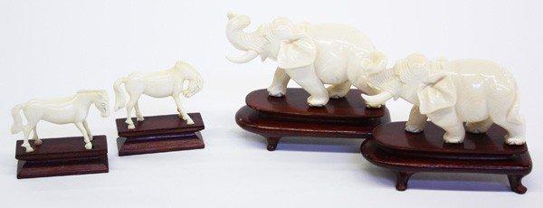 4010: Chinese Ivory Elephant/Horse Figures