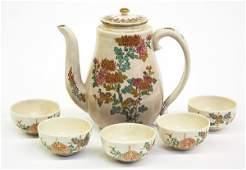 4046: Japanese Satsuma Teapot/Five Cups, Meiji