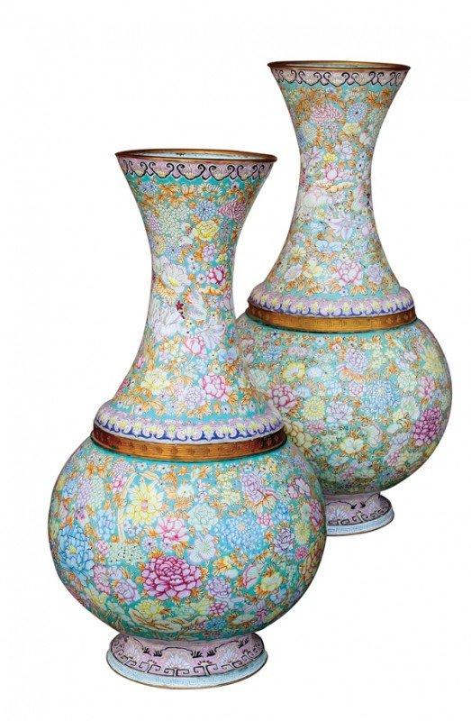 2653: Pair Chinese Massive Canton Enamel Vases