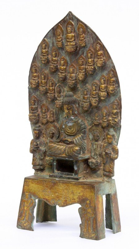 2: Chinese Wei-style Metal Buddhist Figural Group