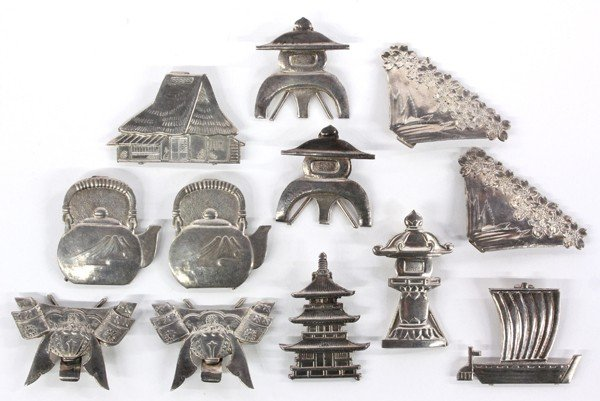 3: Japanese Silver Place Card Holders