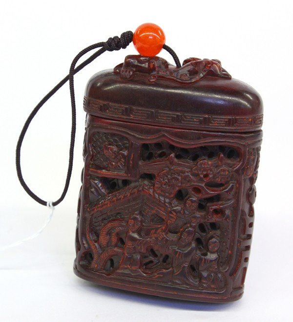 16: Chinese Pierced Horn Container