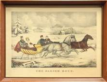 502 Lithograph After Currier and Ives Sleigh Race