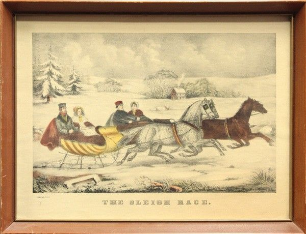502: Lithograph, After Currier and Ives, Sleigh Race