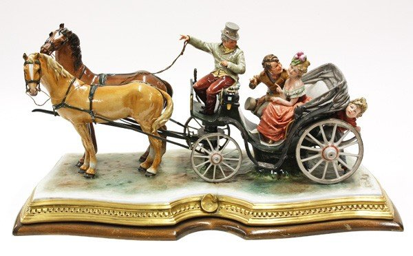 6011: Porcelain figural horse and carriage