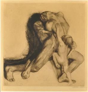 6244: Lithograph, Kathe Kollwitz, Todt Packt Eine Frau