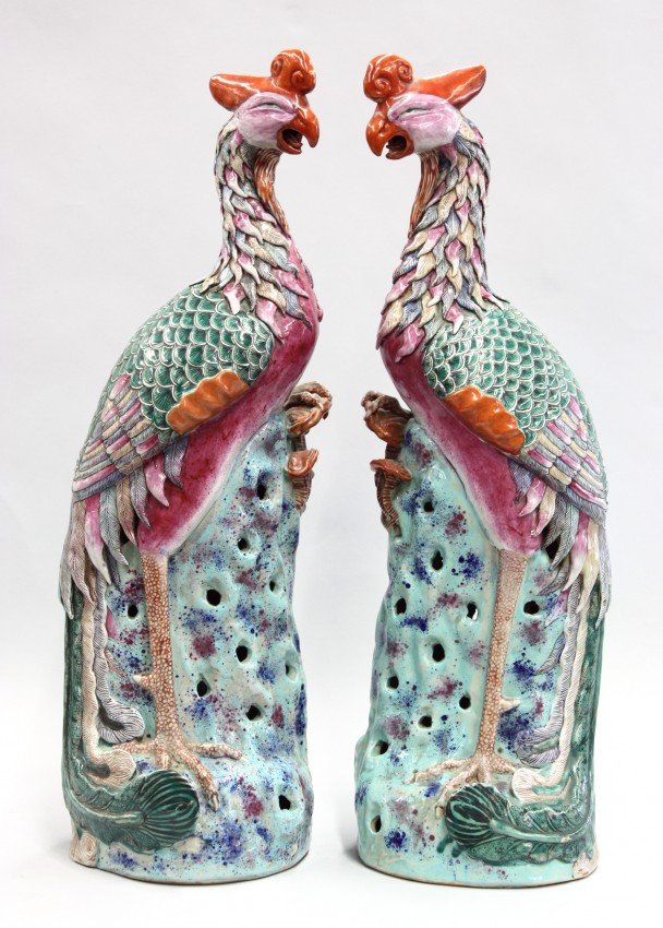 6619: Two Chinese Famille Rose Porcelain Phoenixes