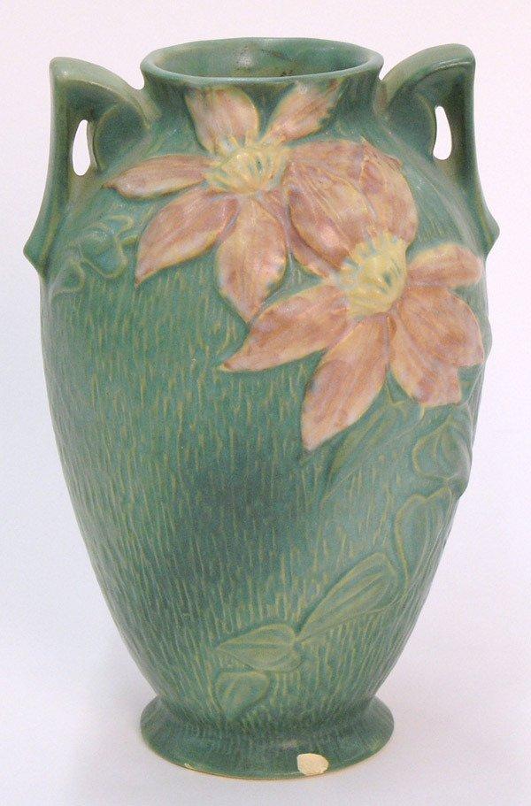 6007: Roseville Green Clematis Vase
