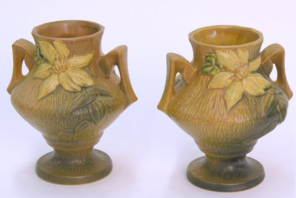 6008: Pair of Roseville Clematis Vases