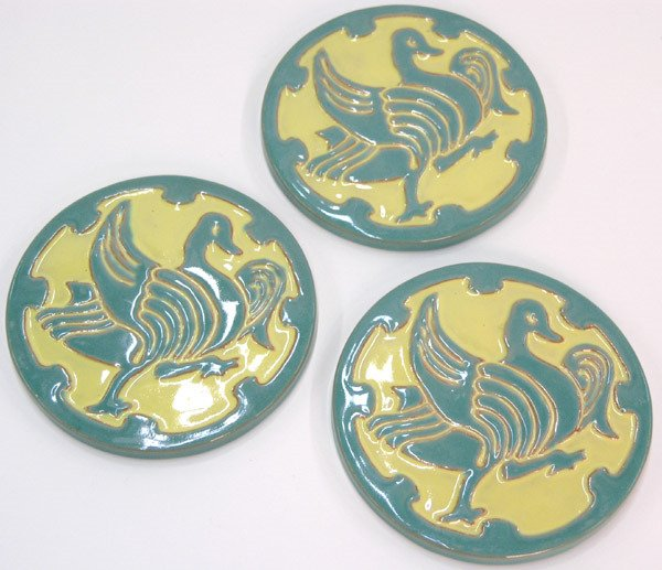 6010: Three California Faience Tea Tiles