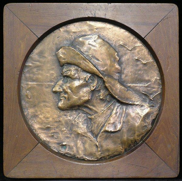 6022: Copper wall plaque, Fisherman