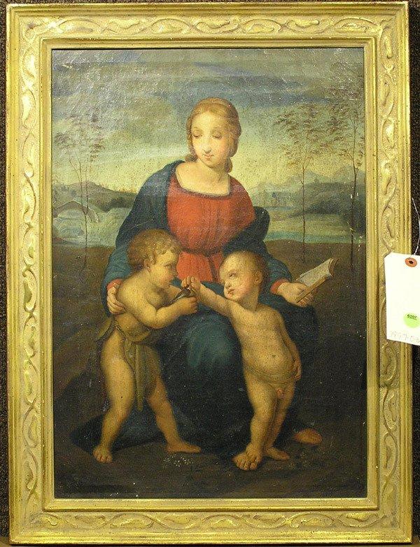 6207: Framed oil, Virgin, after Raphael