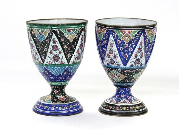 4000: Two Persian Enameled Metal Drinking Cups