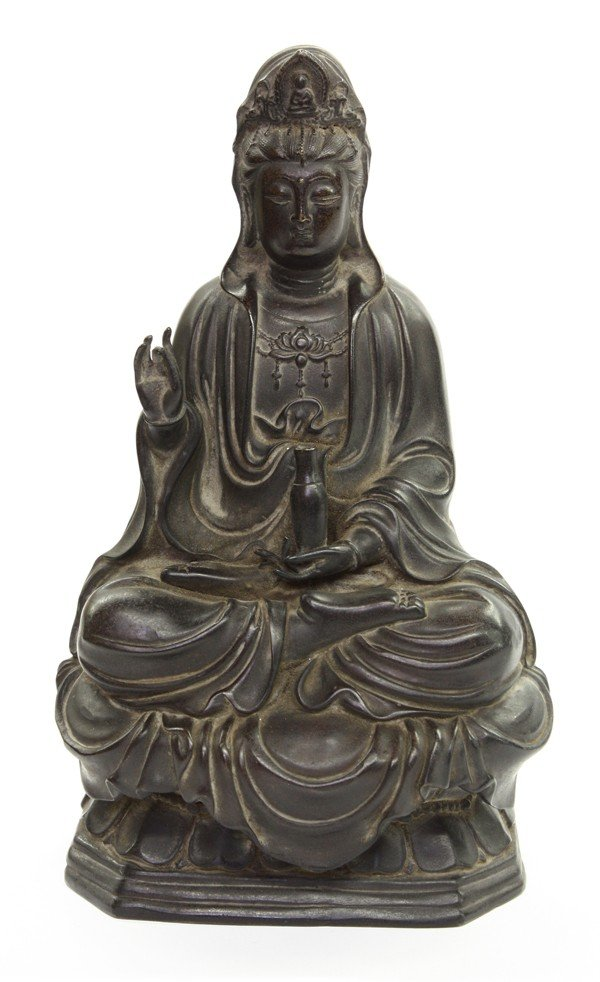 4002: Chinese Patinated Metal Guanyin Figure