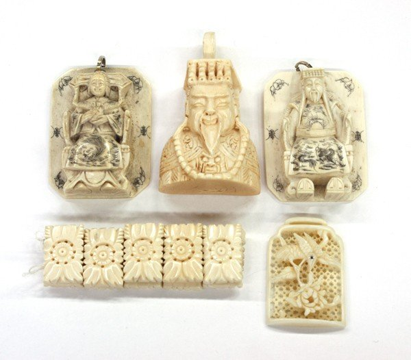 4003: Five Chinese Ivory Ornaments