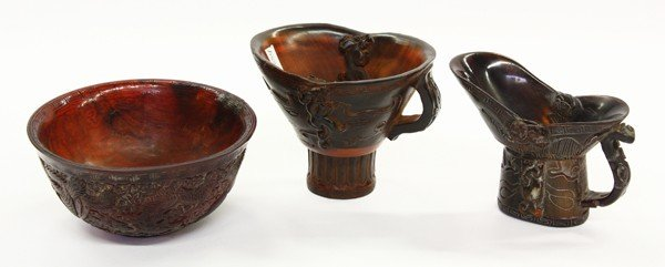 4012: Chinese Carved Horn Decorative Items