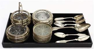 4113 Sterling and crystal coasters