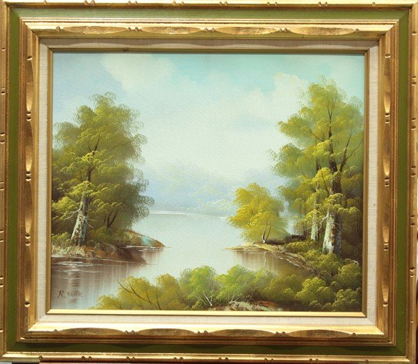 4547: Painting, River Landscape by R. Farr