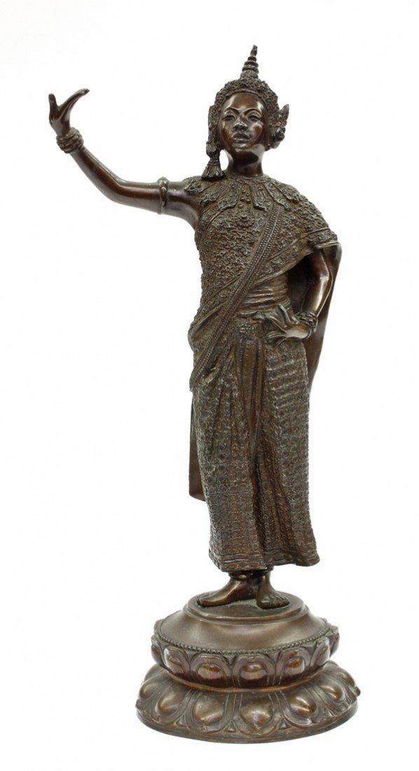 1: Thai Patinated Bronze Figure, 20th C, Signed