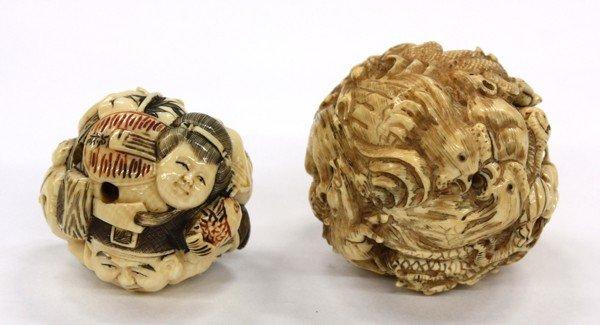 4: Two Ivory Netsuke, Zodiac/Masks