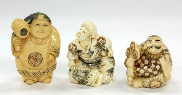5: Three Ivory Figural Netsuke